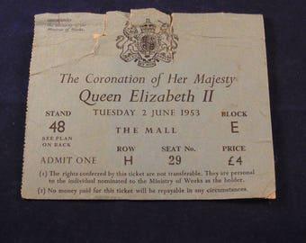 Original Ticket to the Coronation Queen Elizabeth 1953 Coronation Ticket Queen Elizabeth 1953 Coronation Souvenir Royal Ticket