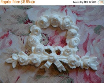 Sale 10% Shabby and Chic Rose Wreath with Bow Furniture Applique Architectural Mount Embellishment