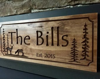 Cabin Signs, Wood Carved plaque, Welcome sign, personalized sign, carved Wood Sign, gifts for dad, Deer hunting, carved signs, wood signs