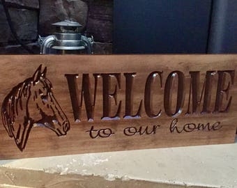 Welcome Sign with Horse, Wooden Carved Sign, Country decor, custom Gift Ideas,  Rustic Wood, wooden wall art, horse Ranch, Benchmark Signs