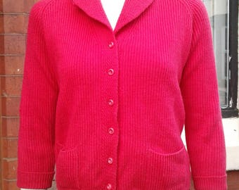 Wonderful bright red 1950s all wool Jaeger cardigan with cute collar