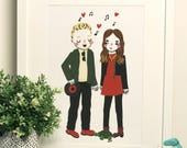 Custom Couple Portrait - Cute Personalised Friends Illustration - Anniversary/Birthday Gift - Made To Order Painting