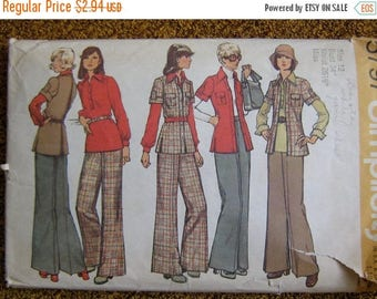 ON SALE 35% OFF 1970's Women's Jacket, Shirt and Pants Simplicity Sewing Pattern 5797 Size 12