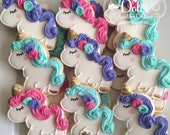 Unicorn Rainbow Birthday First Birthday Party Favor Personalized Cookies