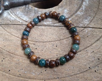 Surfer Bracelet wood Moss Agate Beads beaded coconut Heishi 8 mm, stretch, rustic