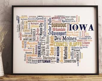 Iowa Map Art, Iowa Art Print, Iowa City Map, Iowa Typography Art, Iowa Poster Print, Iowa Word Cloud