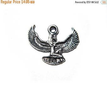 HALF PRICE 6 Silver Isis Charms - Egyptian Winged Goddess