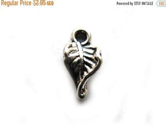 HALF PRICE 10 Small Silver Twisted Leaf Charms