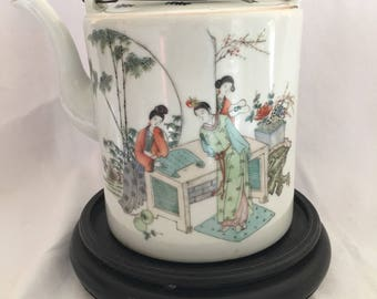 Antique Chinese Qing Dynasty Ceramic Teapot W Writing
