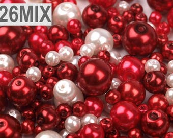 26 MIX - Red white 4-12 mm glass beads