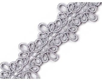 guipure lace silver 40 mm