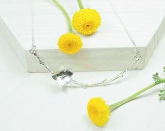 Silver twig necklace, Cherry blossom necklace, handmade necklace, Boho necklace, Nature necklace, Necklace Sakura, Silver twig, Branch