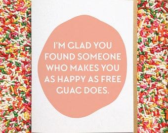 Funny Wedding Card. Guac Card. Guacamole Card. Best Engagement Card. Friend Engagement Card. Card from Bridesmaids. Wedding Shower Card