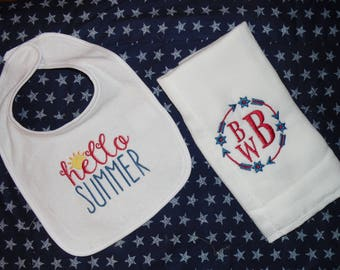 Baby Gift Set - Bib and Burp Cloth Set - Summer Baby Clothes - Baby Shower Gift - New Baby Gift