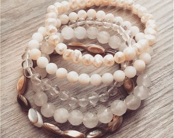 Pure Shores ~ Quartz, Abalone, White Pearl & Natural Shell ~ Stacking Braclet Set, Gemstone Stretch Bracelets, Chakra Jewelry, Beach Jewelry