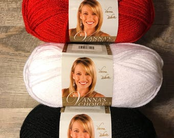 Lion Brand Vanna's Choice Yarn Scarlet Acrylic Yarn Red Black White Yarn