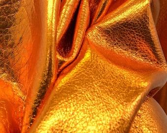 "Leather Cow hide side 21.2 sf Metallic Apricot Golden Nugget ""Vegas"" Fashion 2-3 oz DE-53448 (Sec. 9,Shelf 1,A)"