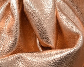 "14K Rose Gold Metallic ""Vegas"" Leather Cow Hide 12"" x 12"" Pre-Cut  3 ounces grainy TA-26147 (Sec. 8,Shelf 4,B)"