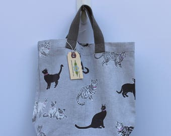 Small Canvas Bag: Cats, washable