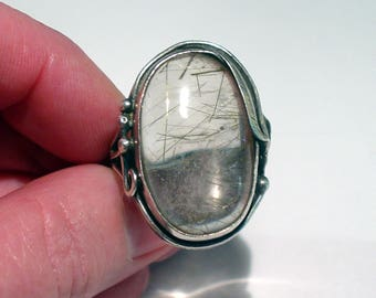Large Native American Sterling Silver Rutilated Quartz Foilate Statement RING