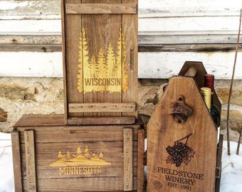 Wisconsin & Minnesota Wooden Sample Sale Storage Boxes