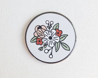 Floral Enamel Pin, Hard Enamel Pin, Lapel Pin, Flower Accessory, Nature Pin, Gifts For Women, Botanical Pin