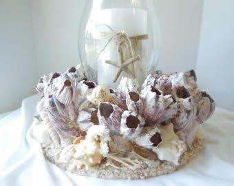 SeaShell Barnacle Candle Holder-Hurricane Candle Holder-Shell Candle Holder-Glass Candle Holder-Beach Candle-Seashells