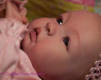 Beautiful Custom Made to Order Vinyl Doll- Reborn Baby Shyann with painted hair-Fake Baby- From Shyann kit Price is deposit only.