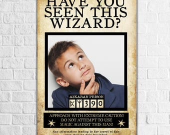 Harry Potter Photo booth, Harry Potter Wanted Poster, Harry Potter Party ideas, Have you Seen this Wizard?, Harry Potter Birthday Theme prop