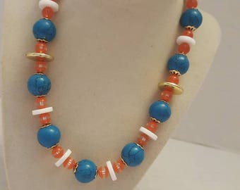 Blue and Orange Necklace Orange and Blue Necklace Beach Necklace One Of A Kind Necklace Vacation Necklace Statement Necklace SByourself Gift
