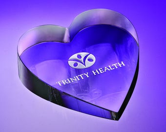 Heart Paperweight, Engraved Glass Heart Paperweights, Personalized Heart Paperweights, Crystal Heart Awards