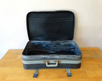 Grey Leather Suitcase, Retro Train Case, Leather Valise, Luggage, Suitcase Table, Travel Trunk, Luggage Decor, Cardboard Suitcase, Suitcase
