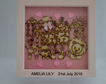 Personalised New born baby gift, It's a Girl, deep box picture frame / box frame