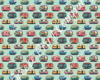 Camper craft  sheet - HTV or Adhesive Vinyl -  retro trailer pattern printed vinyl mint background camping HTV18504