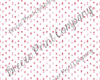 Craft pattern HTV red, pink and white triangle craft vinyl printed sheet - HTV or Adhesive Vinyl -  Valentine's HTV3754 modern