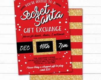 Secret Santa Invite Etsy