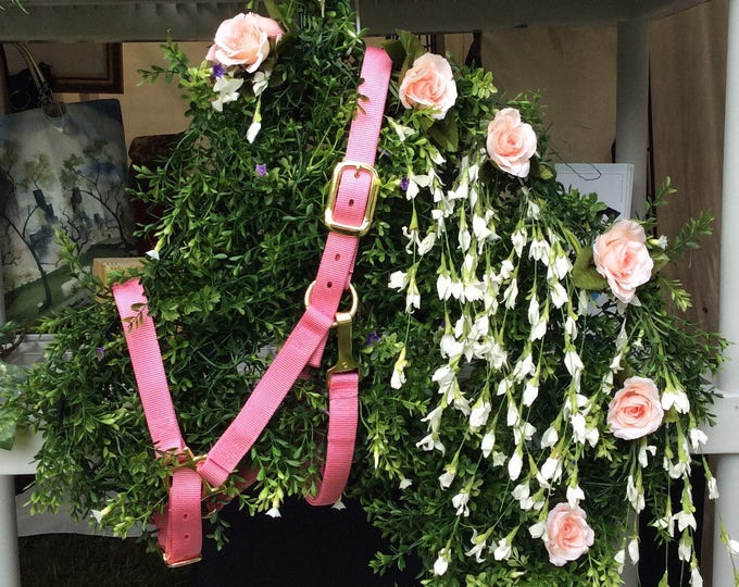 Pink Rose Horse Head Equestrian Floral Wreath for Home or Wedding