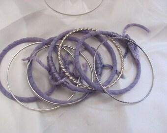 Bracelet Beautiful Stacking Bangle Textile Leather Bracelet 7 Piece Set - Purple Silver (56)