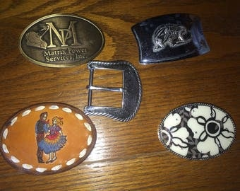 CHOICE of Five Very Different Vintage Belt Buckles -- Subsidized Shipping at only 3.99!