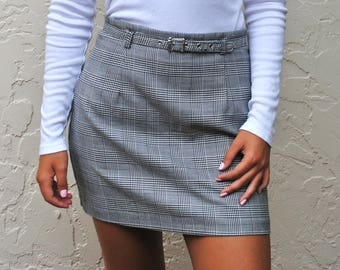 Mini Plaid Pencil Skirt