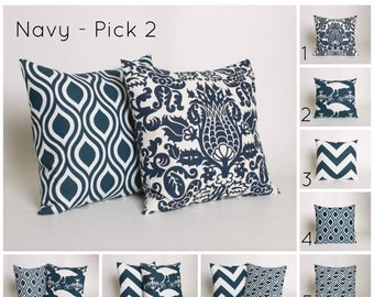 ON SALE PICK 2 Navy Throw Pillow Covers In Premier Print Patterns.  Covers are Designed to Fit 14, 16, 18, 20 or 22 Inch Standard Inserts