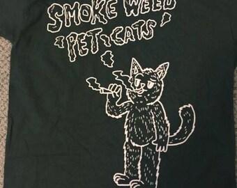 SmokeMeowt Smoke Weed Pet Cats 2 white on green tee