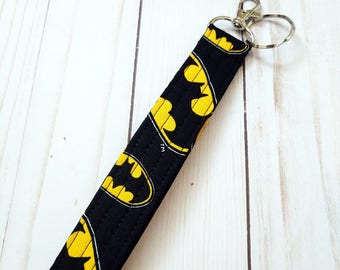 Batman Wristlet Key Fob / Cotton / Quilted Keychain / Handmade
