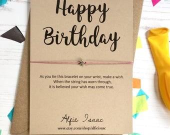 Wish Bracelet - Happy Birthday sentiment card with envelope
