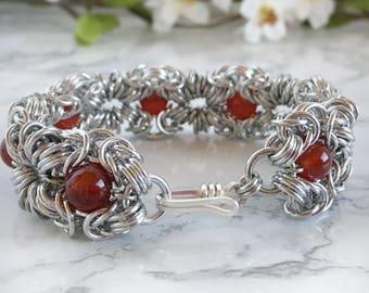 Romantic Carnelian Jewelry for Women - Carnelian Bracelet -  Chainmaille Bracelet - Gemstone Bracelet - Romanov Bracelet - Romanov Jewelry