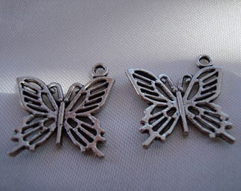 2 charms / Tibetan silver Butterfly charms
