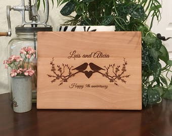 Personalized Cutting Board, Love Birds on Tree Branch, Custom Cheese Board, Wedding Bridal Shower, Heart Cheese Board, Anniversary, New Home