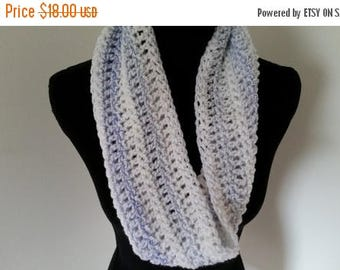 ON SALE Infinity Cowl Scarf, Crocheted white blue Scarf, Neckwarmer Scarf