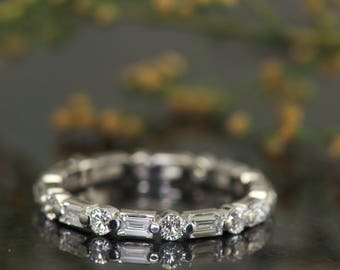 Diamond Eternity Band, Single Shared Prong Baguette and Round Cut Diamonds, 0.90ctw, 2.2mm Wide, Eternity Band, Dot-Dash Design, Samantha E