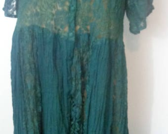 HALFPRICE TOGETHER 90s Vintage lace dress Green long 90s flow dress XL dress Vintage Dress